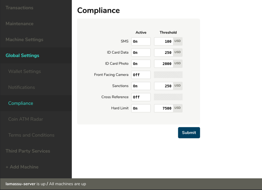 Compliance screen preview
